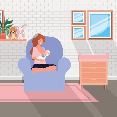 schattige moeder met pasgeboren baby in de woonkamer