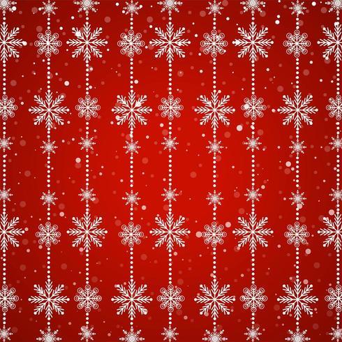 Cadenas de copo de nieve blanca sobre fondo rojo.