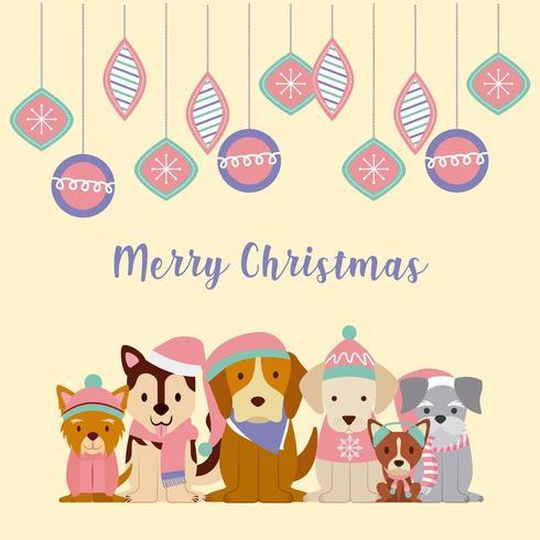 Perros feliz tarjeta de navidad vector
