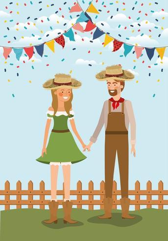Pareja de agricultores celebrando con guirnaldas y valla vector
