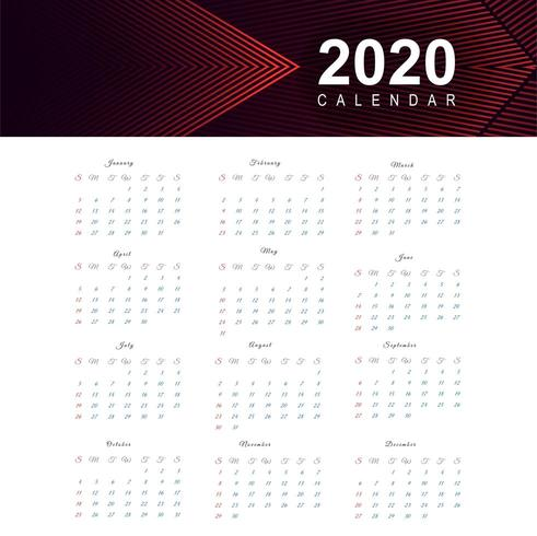 Calendar for 2020 new year