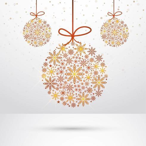 Resumen colgando copos de nieve bola de navidad de fondo vector