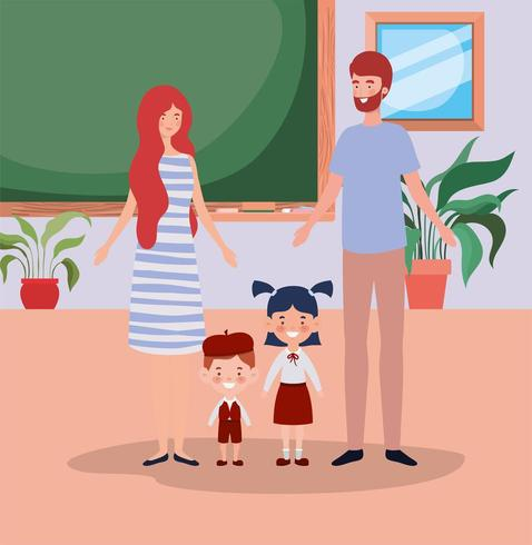 teacher couple with little students kids in the classroom vector