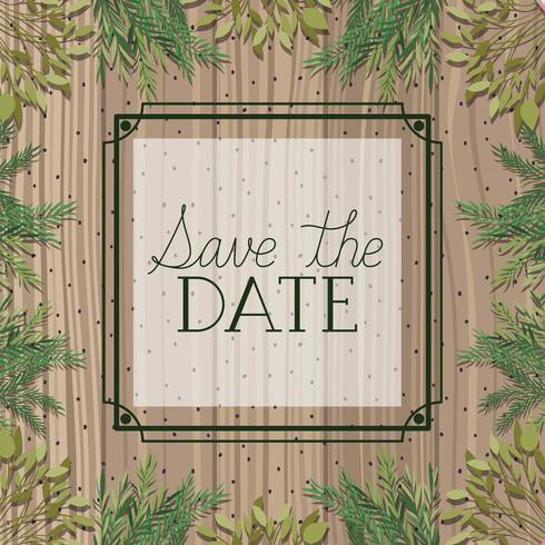 guardar el marco cuadrado de fecha con hojas en fondo de madera vector