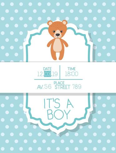 het is een kaart van de jongensbaby shower met teddy beer vector