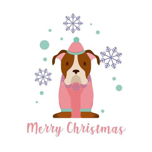 Perro feliz tarjeta de navidad vector