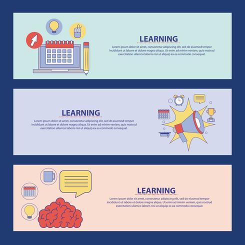 banners de educação de aprendizagem vetor