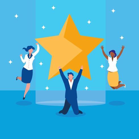 uomini d'affari di successo che celebrano con la stella vettore