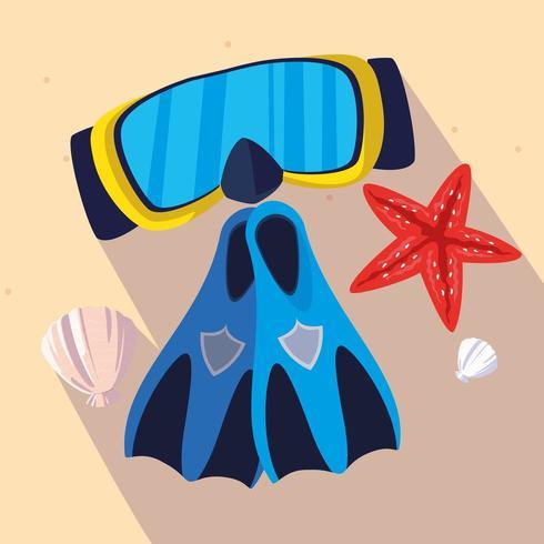 Aletas de snorkel y diseño de máscara. vector