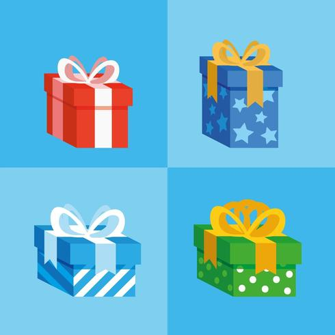 set of gifts boxes present icon vector