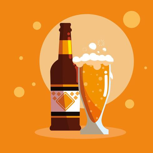 bottiglia e bicchiere di birra icona isolata vettore