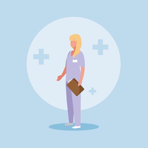 médico feminino com uniforme e área de transferência vetor