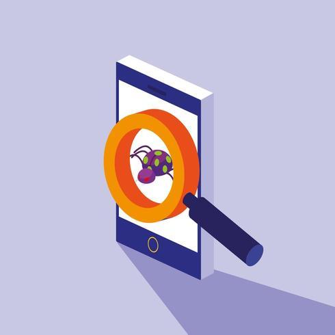 seguridad cibernética con teléfono inteligente y ataque de virus vector