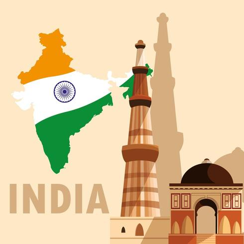 indian independence day poster with map flag and jama masjid vector