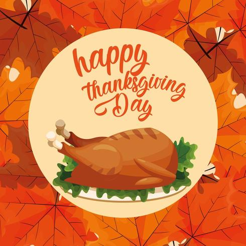 turkey dinner of thanksgiving day with leafs vector