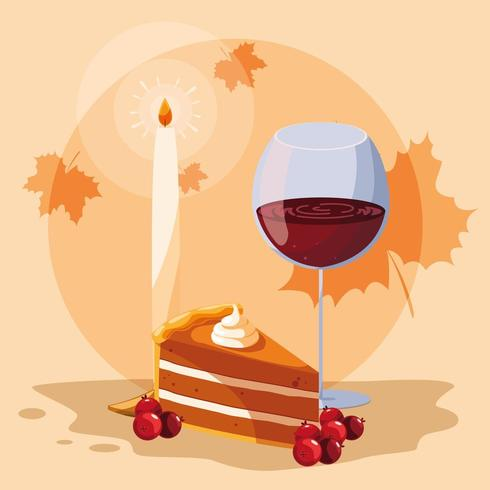 pie with cup wine for thanksgiving day vector