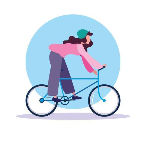 giovane donna in sella a bici avatar personaggio vettore