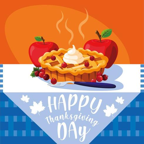 pie with apples for thanksgiving day in table vector