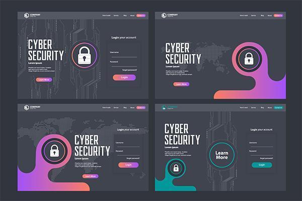 Conjunto de Design de modelo de vetor de página de destino de segurança cibernética
