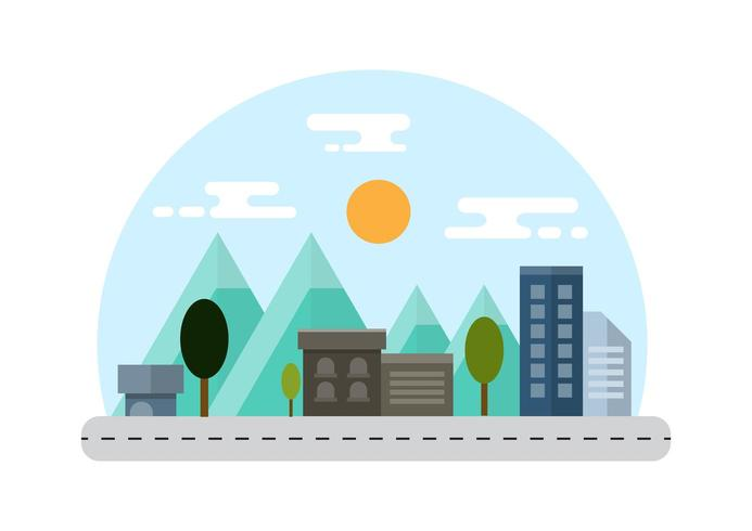 Countryside and City Landscape Illustration