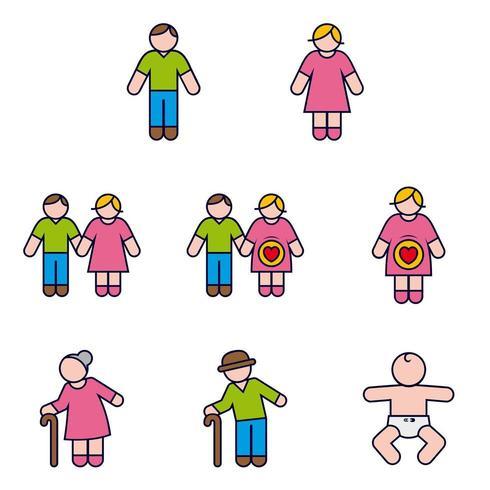 Couple famille et bébé et grossesse Icon Set