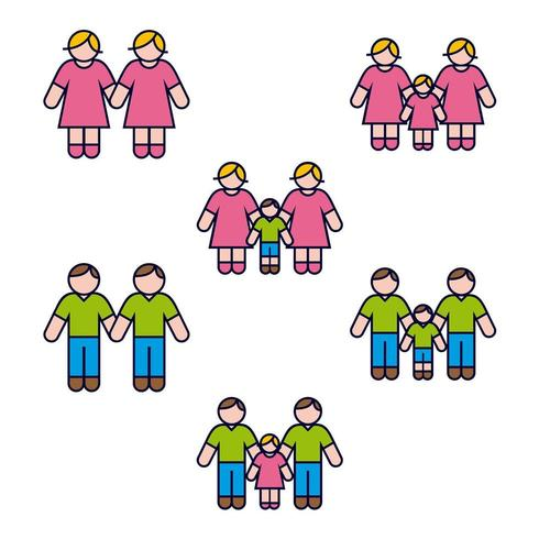 Hetzelfde geslacht familie Icon Set