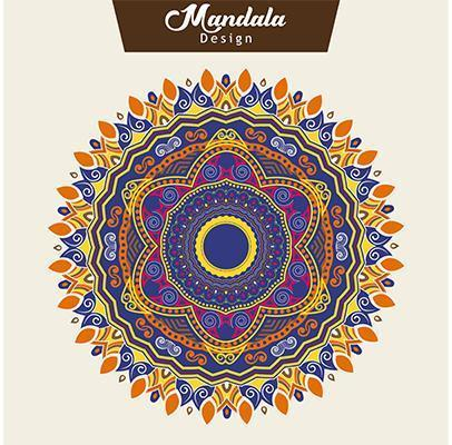 Vector de diseño de mandala colorido abstracto