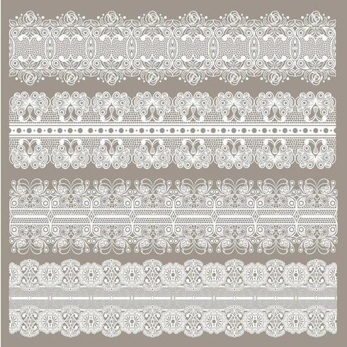 Set of lace ribbons seamless  vector