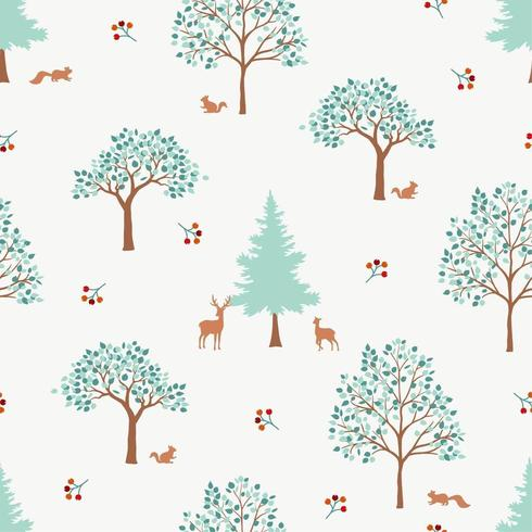 Hand drawn cute forest seamless pattern