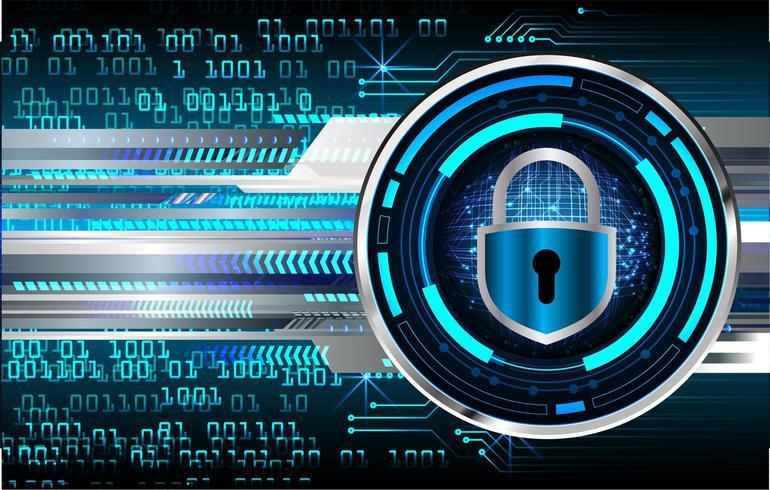 Geschlossenes Vorhängeschloß auf digitalem Hintergrund, Internetsicherheit vektor