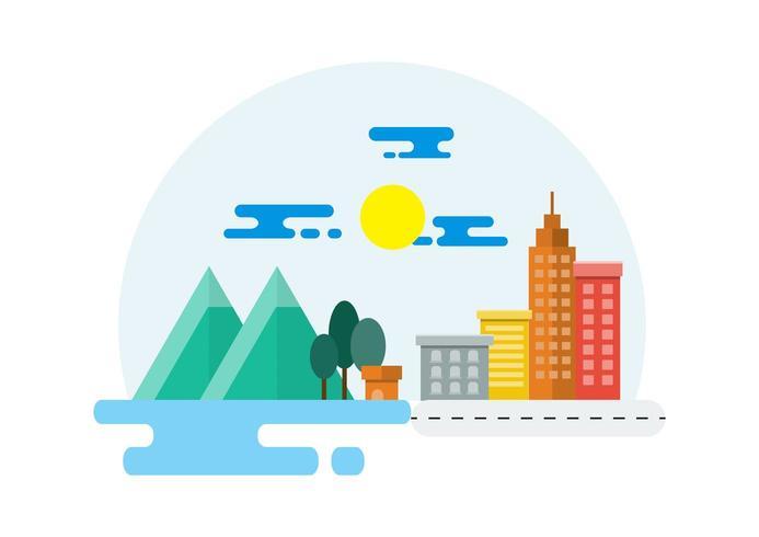 Ilustración de paisaje de campo y ciudad vector
