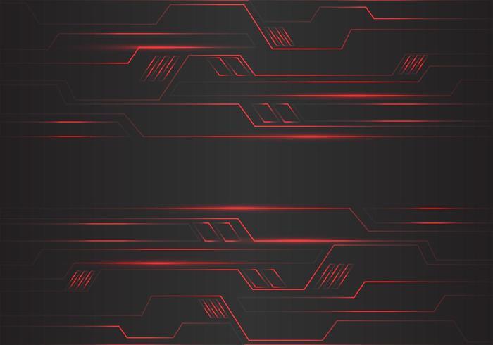 Circuito rojo abstracto polígono líneas geométricas de luz vector