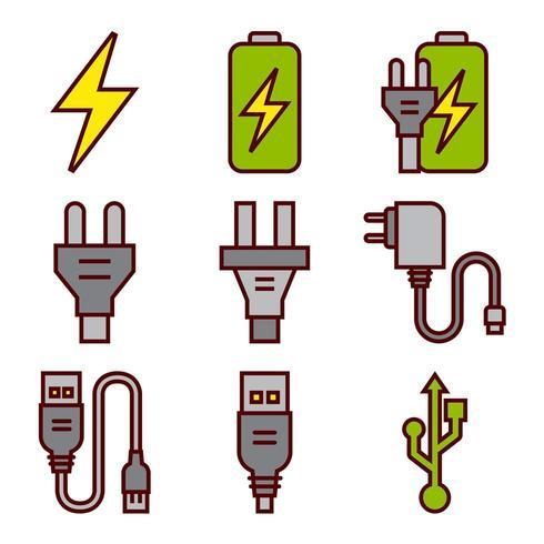 Iconos de baterías de energía y enchufes eléctricos vector