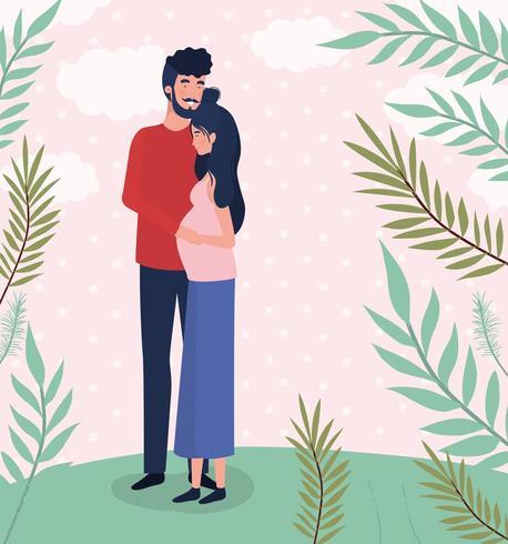 amantes lindos pareja personajes de embarazo en el paisaje vector