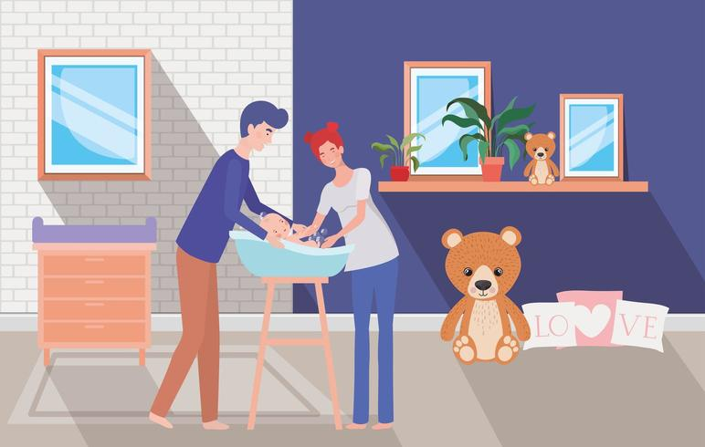 parents taking care of newborn baby with bath vector