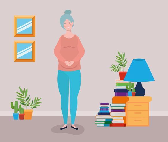 mujer embarazada en escena de lugar de casa vector