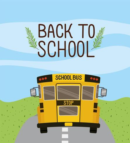 transporte en autobús escolar en la carretera vector