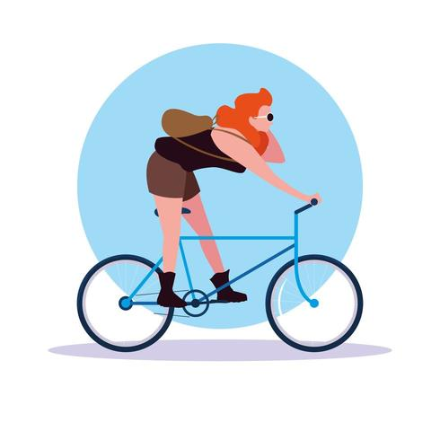 young woman riding bike avatar character vector