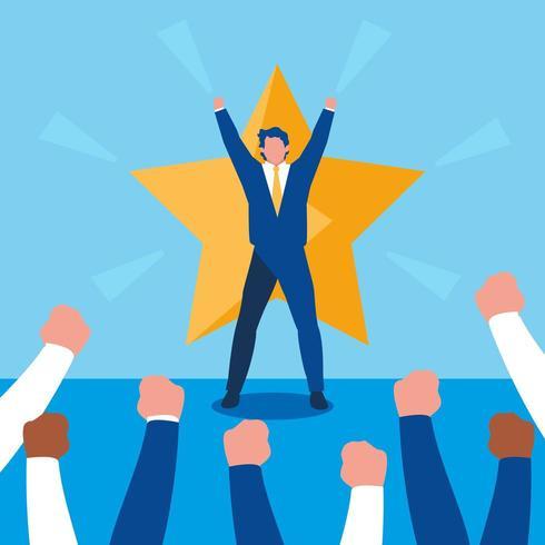 hombres de negocios exitosos celebrando con estrella vector