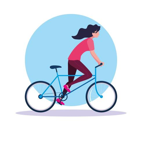 Mujer joven montando bicicleta avatar personaje