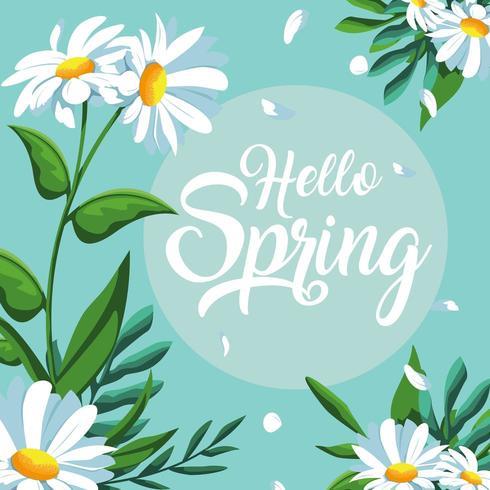 hola tarjeta de primavera con hermosas flores decoradas vector