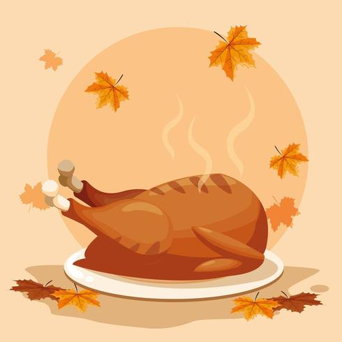 thanksgiving day with leafs vector