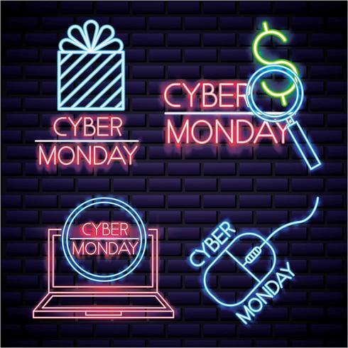Cyber måndag neon teckenuppsättning vektor