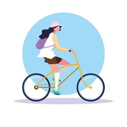 Mujer joven montando bicicleta avatar personaje vector