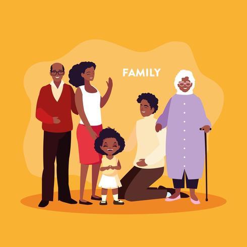 linda familia en cartel vector
