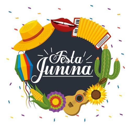 festa junina etiqueta decoração vetor