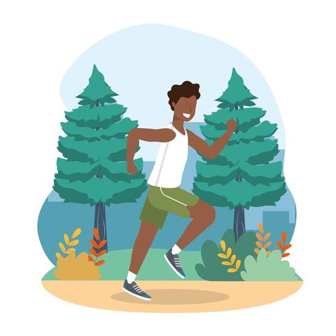 man health exercise and running activity vector