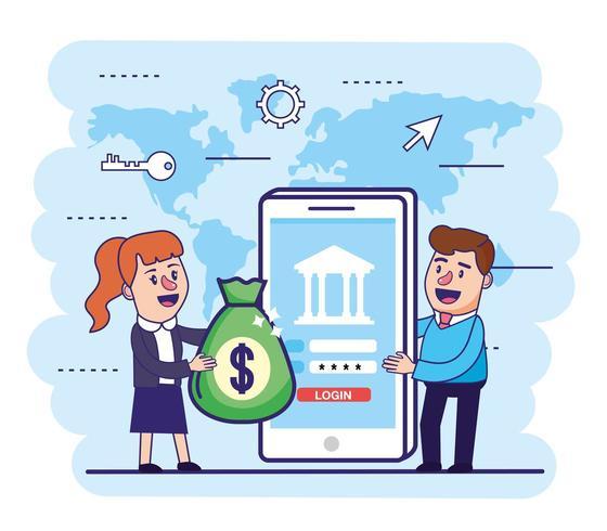 mujer y hombre con bolsa de dinero y teléfono inteligente vector