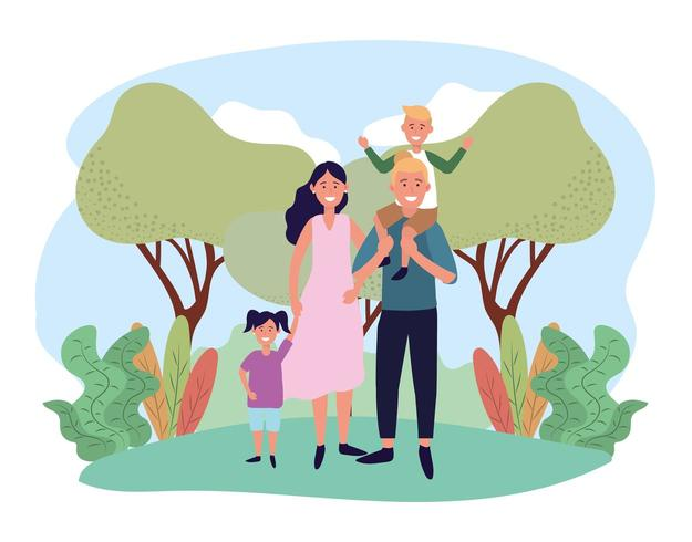 carino donna e uomo con il loro figlio e figlia vettore