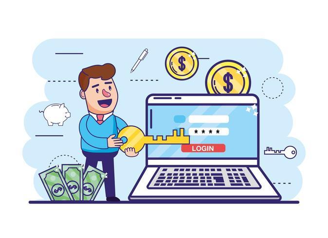 homem com chave e laptop com banco digital
